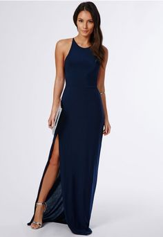 Nora Navy High Neck Maxi Dress - Dresses - Maxi Dresses - Missguided
