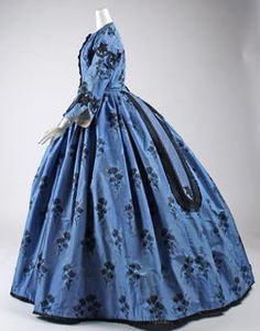 1863 Culture: French Medium: silk Dimensions: Length at CB: 63 in. cm) Credit Line: Purchase, Judith and Ira Sommer Gift, 1999 Accession Number: Historical Costume, Historical Clothing, Historical Dress, Vintage Gowns, Vintage Outfits, Vintage Hats, Civil War Fashion, Civil War Dress, 19th Century Fashion