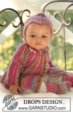 "Baby jacket knitted from side to side, socks and hat in ""Fabel"". ~ DROPS Design - Looks like she needs butterfly wings."