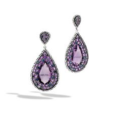 John Hardy Amethyst and Sterling Silver Classic Chain Drop Earrings. Style#: EBS999941AMBSP #FebruaryBirthstone
