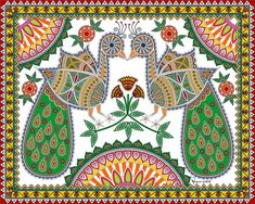 Pair of Peacock digitally painted in the style of Mithila / Madhubani Painting. Symbol : Love, Artist: Nupur Nishith