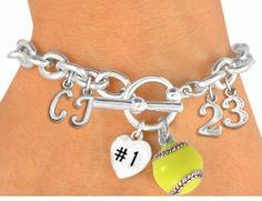 softball bracelet - cute gift idea for the team