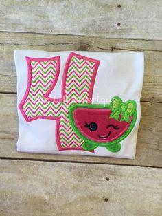 Watermelon Shirt- Personalized Birthday Shirt - Personalized Shopkins Inspired - 1st Birthday Outfit - Tutu - Watermelon Birthday Shirt  by OurLilBowtique
