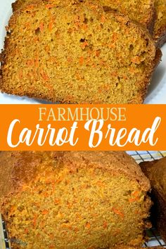 Farmhouse Carrot Bread Recipe tastes sweet and has two cups of carrots in each loaf. Homemade carrot bread is an easy way to eat more vegetables! Carrot Bread Recipe Moist, Carrot Cake Bread, Loaf Bread Recipe, Quick Bread Recipes, Carrot Recipes, Banana Bread Recipes, Cooking Recipes, Carrot Muffins Easy, Gourmet