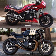 Honda Cbx 750 f cafe racer by Francesco Paura Cafe Racer Honda, Cafe Bike, Cafe Racer Build, Style Cafe Racer, Modern Cafe Racer, Bobbers, Compro Moto, Moto Biker, Best Motorbike