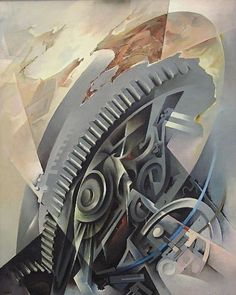 Tullio Crali, Macchine in Cielo, Olio su Tela, 1980 Italian Painters, Italian Artist, Italian Futurism, Modern Art, Contemporary Art, Futurism Art, Mechanical Art, Art Deco Posters, Expressive Art