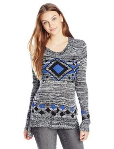 07abc1cfa45 Derek Heart Junior s Long Sleeve Scoop Neck Printed Tunic Sweater