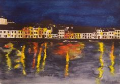 'Night Lights - The Long Walk, Galway' by Fiona Concannon on ArtClick. West Coast Of Ireland, Long A, Night Lights, Watercolour Painting, Giclee Print, Presents, Antiques, Artist, Antiquities