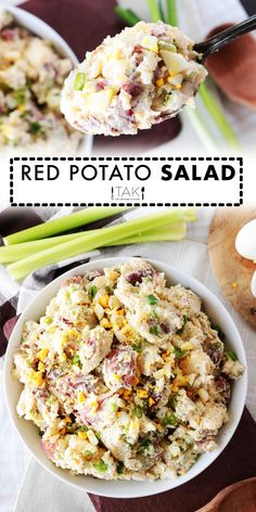 Red Potato Saladis side dish perfect for feeding a crowd! Red Potatoes are mixed with hard-boiled eggs, celery, and green onions, coated in a simple dressing of sour cream, mayonnaise, and dijon mustard, and finished off with a sprinkle of tangy dill. It's best served at BBQ's, potluck parties, and holiday gatherings! Dill Recipes, Potluck Recipes, Side Dish Recipes, Salad Recipes, Loaded Potato Salad, Potato Salad Dill, Bacon Ranch Potatoes, Twice Baked Potatoes, Potato Sides
