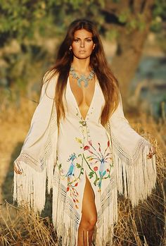 Raquel Welch wearing Valentino, 1970's.