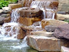How to Build a Pondless Waterfall Tank-Type Landscaping Supplies, Yard Landscaping, Landscaping Ideas, Diy Waterfall, Pond Fountains, Recycled Brick, Pool Water Features, Fish Ponds, Backyard Designs