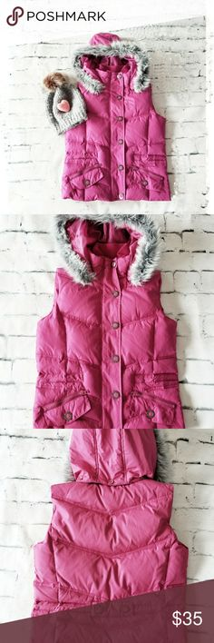 Down Pink Vest Hoody EUC Pretty Pink Vest with Gray Faux Fur I love this Vest! So Cute!  • Zip/Button Up  • 4 Pockets  • Removable Faux Fur Hoody  • Filled with Down  • Shell and Lining 100% Polyester • Size Small • Excellent condition!  🖤♡🖤♡🖤♡🖤♡🖤♡🖤♡🖤♡🖤♡🖤♡🖤  Packaged and Shipped FAST w/LOVE & Care! 🖤♡🖤♡🖤♡🖤♡🖤♡🖤♡🖤♡🖤♡🖤♡🖤 Jackets & Coats Vests