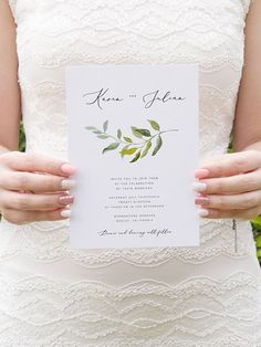 Wedding Invitation Template Olive Branch Green Leaf Wreath #weddinginvitation