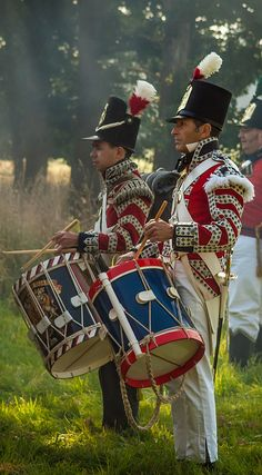 A reenactment at Romsey in Hampshire of drummers in the British army during the Napoleonic wars