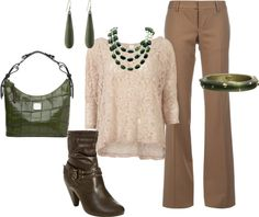 A fashion look from November 2012 featuring pink shirts, and heeled boots. Browse and shop related looks. Quirky Fashion, Fashion Looks, Brown Pants Outfit, Business Attire, Cute Outfits, Clothes For Women, My Style, Stylish, Lady