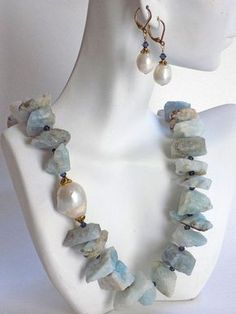 Large Bead Necklace and Earrings for Women, Blue Necklace for Women, Gemstone Necklace and Earrings Set, Blue Lace Agate Necklace Handmade Necklaces, Handcrafted Jewelry, Unique Jewelry, Beaded Jewelry, Beaded Necklaces, Agate Jewelry, Wire Bracelets, Silver Jewellery, Luxury Jewelry
