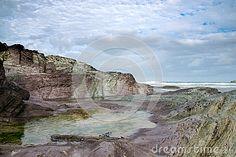 Rocks on Polzeath beach, North Cornwall, UK