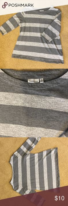 Large, Striped Croft & Borrow 3/4 sleeve sweater This shirt is somewhere between thick t-shirt material and a light sweatshirt/sweater. Classic stripes, a bit of a boxy shape for extra comfort, 3/4 length sleeve croft & barrow Sweaters Crew & Scoop Necks