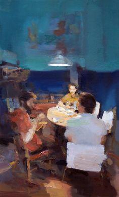 "Carlos San Millan; Oil, 2012, Painting ""Sobremesa"""