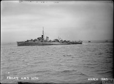 HMS Nith(K 215) a River class Frigate built by Henry Robb of Leith & commissioned 16/02/43. Saw service in Normandy, India & Far East during WW II. In '48 she was sold to the Egyptian Navy & renamed Domiat. on 31/1056 during the Suez crisis she was challenged & engaged by the light cruiser HMS Newfoundland. Reduced to a burning hulk she was sunk by destroyer HMS Diana. This engagement marked the last time a warship was sunk by another warship using conventional gun action.