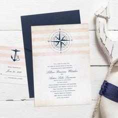 This classy nautical invitation fits into an elegant navy pocket Nautical Wedding Invitations, Nautical Wedding Theme, Wedding Invitation Samples, Beach Wedding Favors, Beautiful Wedding Invitations, Wedding Souvenir, Destination Wedding, Anchor Wedding, Boat Wedding