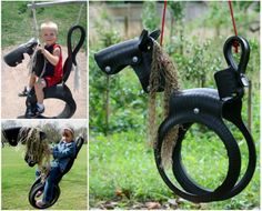 How to make a Horse tire swing. I bought one of these for my first grandchild 13 or so years ago. And each one of my grandchildren have loved it. It's currently being used by my 2 year old grandson and his 7 year old sister and still going strong. Horse Tyre Swing