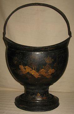 Antique French Tole Coal Scuttle Bucket w/ Original Chinoiserie Decoration 19th century | eBay