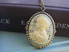 Goddess Cameo Necklace large cameo antique brass gift for her under 30