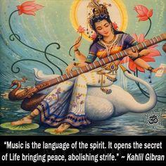 ƸӜƷ Sarasvati: Hindu goddess of words. Sarasvati is the creator of the arts, including music, dancing, and poetry ƸӜƷ Durga, Saraswati Goddess, Goddess Art, Divine Goddess, Saraswati Mata, Hanuman, Spiritual Tattoo, Spiritual Music, Indian Gods