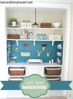 Craft room storage in a closet. So beautifully organized! Get things up off the desk. Would be great for the kids craft things. Love the painted pegboard for the utility/craft room. Craft Room Storage, Room Organization, Closet Storage, Spare Room Storage Ideas, Closet Craft Rooms, Garage Storage, Spare Bedroom Ideas On A Budget, Craft Room Ideas On A Budget, Craft Room Shelves