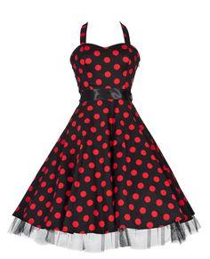 1950's Vintage Style Black Red Big Polka Dot Halterneck Jive Swing Prom Dress: Amazon.co.uk: Clothing