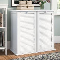 Need to Buy Cabinet Laundry Hamper ByBeachcrest Home Linen Storage, Small Storage, Diy Storage, Storage Spaces, Storage Ideas, Basket Storage, Small Shelves, Shoe Storage Cabinet, Toilet Storage