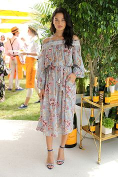Shanina Shaik wears the Pavilion Smock Dress from our Summer Swim 16 collection at the 2016 Veuve Clicquot Polo Classic in New York