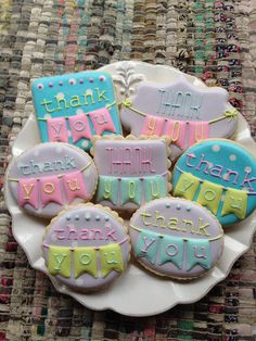 Thank You Bunting Decorated Sugar Cookies for Baby Shower Favors. Thank You Cookies, Fancy Cookies, Iced Cookies, Cute Cookies, Easter Cookies, Birthday Cookies, Cupcake Cookies, Sugar Cookies, Cookies Et Biscuits