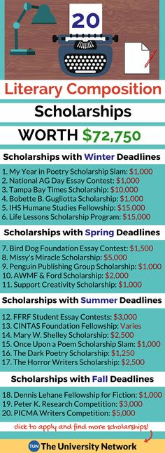 Literary Composition Scholarships Here is a selection of Literary Composition Scholarships that are listed on TUN. – College Scholarships Tips Grants For College, Financial Aid For College, College Fund, College Planning, Online College, Scholarships For College, Education College, College Students, College Tips