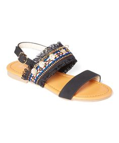 Black Randy Double-Strap Peasant Sandal