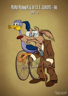 キャラクターたちも高齢化社会。ミッキーマウスなど、アメリカの人気キャラクターを実年齢で描写