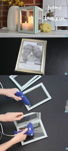 Aiming for some elegant and posh living room or working space? Well, today you are lucky because here is a video that will teach you some easy do-it-yourself decoration that looks high-end. They looked very classy that no one will think that they came from a dollar store. credits:DoItOnaDime  Get your materials at Amazon!   Frame Lanterns – You will only need 4 5×7 picture frames, glue gun, and some glue. First using hot glue insert the glass and connect them all together in a square