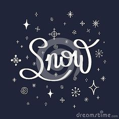 Postcard with the inscription snow and snowflakes.Vector