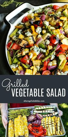 Grilled Vegetable Salad from afarmgirlsdabbles. - a variety of summer vegetables are grilled, chopped, and then drizzled with a bright-and-sunny herby lemon vinaigrette. The final delicious touch is a sprinkling of creamy, salty blue cheese crumbles. Best Grilled Vegetables, Grilled Vegetable Salads, Vegetable Salad Recipes, Veggie Dishes, Roasted Vegetable Salad, Vegetables On The Grill, Dinner Vegetables, Paleo Vegetables, Grilled Food