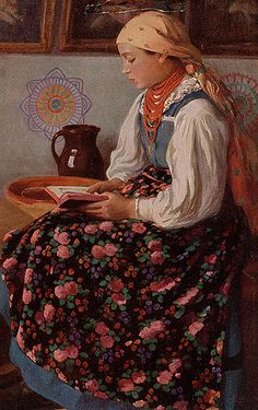 https://flic.kr/p/Fr4LH | Traditional dress from Sieradz area | Sieradz is a city in central Poland; this painting by Fr. Lubienski depicts a young girl from a village in what used to be Sieradz County.