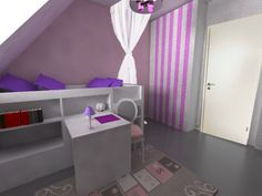 decoration romantique princesse dans la chambre de cette petite fille avec une palette de - Chambre Mauve Fille