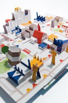 Anouck Boisrobert, Louis Rigaud & Joy Sorman, Popville pop-up book Pop Up Art, Arte Pop Up, Up Book, Book Art, Cuento Pop Up, Cardboard City, Art Origami, Paper Pop, Paper Clay