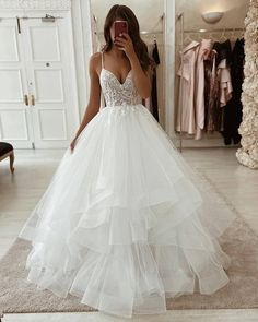 White tulle lace long prom gown formal gown, Customized service and Rush order are available Dream Wedding Dresses, Bridal Dresses, Prom Dresses, Ruffled Wedding Dresses, Princess Style Wedding Dresses, Disney Wedding Dresses, Bridesmaid Gowns, Perfect Wedding Dress, Modest Dresses
