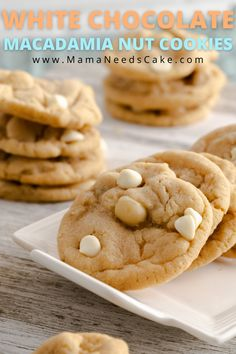 These White Chocolate Macadamia Nut Cookies are soft-baked, have a chewy center, and baked in a delicious buttery flavored cookie. #macadamianut #cookie #whitechocolate #baking #freezerfriendly #easycookierecipe #cookierecipes #dessert