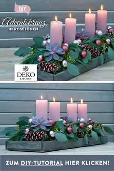 DIY Christmas decoration: this advent wreath in trendy rose tones with eucalyptus . DIY Christmas decoration: you can make this advent wreath in trendy rose tones with eucalyptus and succulents! You can find the DIY instructions here:. Christmas Crafts For Kids, Christmas Diy, Christmas Wreaths, Christmas Decorations, Advent Wreath, Diy Wreath, Champagne Gift Baskets, Easter Wreaths, How To Make Wreaths