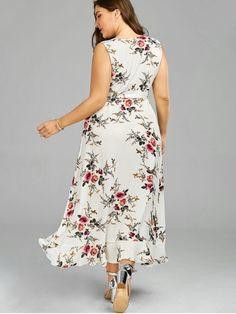 6bf0241d405ae Plus Size Tiny Floral Overlap Flounced Flowy Beach Dress - WHITE 5XL  Vestido Madrinha