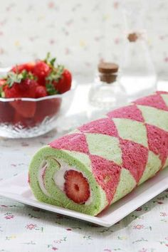 """Strawberry Roll Cake. Lovely. Directions were impossible to find but, could easily make the pattern from the """"cake roll tutorial"""" pin."""