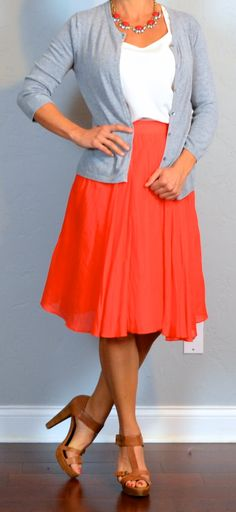 Outfit Posts: outfit post: red midi skirt, white tank, grey cardigan, brown t-strap heels