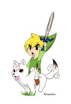 To the rescue, Link and Chibiterasu, The Legend of Zelda / Ōkamiden artwork by Kitsune Star 23.